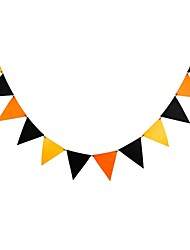 cheap -Halloween Party Decoration Orange and Black Non-Woven String Flag  1set