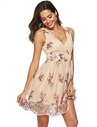 cheap -Women's A-Line Dress Knee Length Dress Sleeveless Print Sequins Layered Print Summer Hot Sexy 2021 Black Gold S M L XL XXL