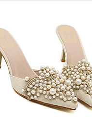 cheap -Women's Sandals Kitten Heel Pointed Toe Casual Sweet Daily Faux Leather Rhinestone Pearl Almond Pink