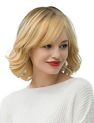 cheap -Human Hair Wig Medium Length Wavy Loose Wave Bob With Bangs Blonde Fashionable Design Women Medium Size Machine Made Capless Indian Hair Women's Blonde 12 inch / Ombre Hair