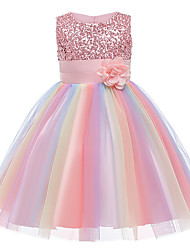 cheap -Kids Girls' Active Cute Rainbow Jacquard Lace Sequins Pleated Sleeveless Knee-length Dress Blue