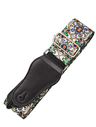 cheap -NAOMI Nylon Guitar Strap Adjustable Guitar Strap Belt Flower Pattern For Acoustic Electric Bass