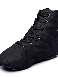 cheap -Women's Ballet Shoes Jazz Shoes Dance Sneakers Modern Shoes Flat Sneaker Flat Heel Red White Black Lace-up / Men's / Performance / Practice