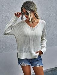 povoljno -Žene Euramerican Ispleten Jednobojni Pullover Akril vlakna Dugih rukava Duks džemper V izrez Jesen Zima Plava Lila-roza Bež