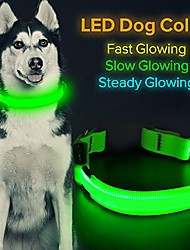 cheap -led dog collar, usb rechargeable glowing pet collar night safety led light up with nylon webbing perfect for small, medium, large dogs (green)