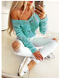 cheap -Women's Stylish Knitted Hollow Out Solid Colored Pullover Long Sleeve Sweater Cardigans V Neck Fall Winter Blue Blushing Pink Green