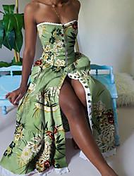 cheap -Women's Swing Dress Maxi long Dress - Sleeveless Print Patchwork Print Summer Strapless Sexy Slim 2020 White Yellow Light Green S M L XL