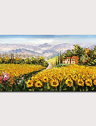 cheap -Mintura Hand Painted Knife Sunflower Landscape Oil Paintings on Canvas Modern Abstract Wall Picture Art Posters For Home Decoration Ready To Hang With Stretched Frame