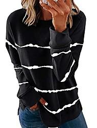 cheap -Women's Pullover Sweatshirt Striped Casual Hoodies Sweatshirts  White Black Gray