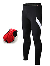 cheap -SANTIC Men's Cycling Tights Winter Fleece Elastane Bike Tights Pants Bottoms Thermal / Warm Fleece Lining Breathable Sports Patchwork Black Clothing Apparel Expert Race Fit Bike Wear Advanced Sewing