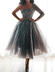 cheap -Women's Prom Dress A-Line Dress Maxi long Dress - Long Sleeve Solid Color Print Summer One Shoulder Hot Elegant 2020 Silver S M L XL
