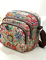 cheap -Women's Bags Oxford Cloth Zipper Floral Print Daily MessengerBag Black Red Pink Fuchsia