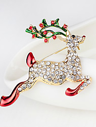 cheap -Women's Brooches 3D Elk Fashion Gold Plated Brooch Jewelry Rainbow For Christmas Christmas Gifts Gift Party & Evening New Year