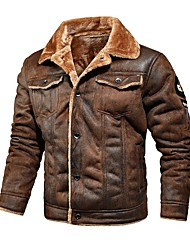 cheap -Men's Jacket Regular Solid Colored Daily Long Sleeve Faux Leather Black Khaki Brown M L XL XXL