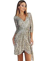 cheap -Women's A-Line Dress Short Mini Dress - 3/4 Length Sleeve Solid Color Winter V Neck Sexy Club Slim 2020 Black Silver Beige S M L XL