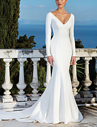 cheap -Mermaid / Trumpet Wedding Dresses V Neck Sweep / Brush Train Satin Long Sleeve Beach with 2021