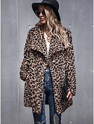 cheap -Women's Teddy Coat Leopard Print Animal Pattern Basic Fall Long Daily Long Sleeve Polyester Coat Tops Khaki
