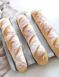 cheap -3 Grid Silver Baguette Mold Baking Oven with Long Baguette Mold Home Baking Utensils Non-stick Baking Mold Kitchen Badgets