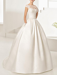 cheap -Ball Gown Wedding Dresses Jewel Neck Floor Length Lace Satin Sleeveless Formal with Appliques 2020