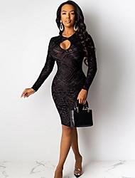 cheap -Women's Sheath Dress Knee Length Dress - Long Sleeve Solid Color Summer Sexy Slim 2020 Black S M L XL XXL