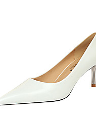 cheap -Women's Heels Stiletto Heel Pointed Toe Sexy Party & Evening Patent Leather Solid Colored Nude White Black