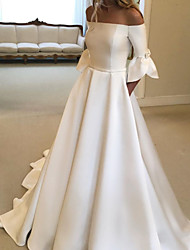 cheap -A-Line Wedding Dresses Off Shoulder Court Train Satin Half Sleeve Simple with Bow(s) Pleats 2020