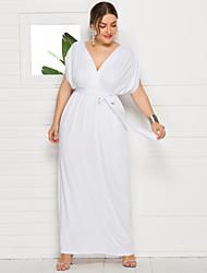cheap -Women's Swing Dress Maxi long Dress White Black Purple Wine Green Royal Blue Navy Blue Short Sleeve Solid Color Fall Summer V Neck Elegant Casual 2021 L XL XXL 3XL 4XL