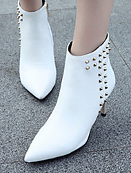 cheap -Women's Boots Stiletto Heel Pointed Toe Classic Daily Rivet Solid Colored Leather Booties / Ankle Boots White / Black / Red