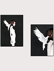cheap -Framed Art Print  Canvas Home Art Decoration Abstract Dove And The Girl Canvas Wall Art Suitable for Living Room Bedroom