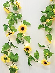 cheap -10M 100LEDs Sunflower Ivy Vine Artificial Flowers with Leaves 33ft Hanging Garland Garden Fences Home Wedding Christmas Holidays Decoration
