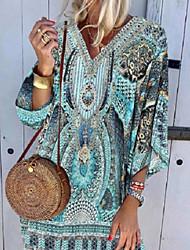 cheap -Women's Shift Dress Knee Length Dress 3/4 Length Sleeve Tribal Print Summer Hot Boho vacation dresses 2021 Blue S M L XL XXL 3XL