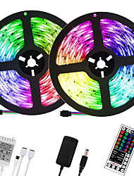 cheap -32.8ft 10M LED Light Strips RGB Tiktok Lights 600LEDs Flexible Color Change SMD 2835 with 44 Keys IR Remote Controller and 100-240V Power Supply for Home Bedroom Kitchen TV Back Lights DIY Deco
