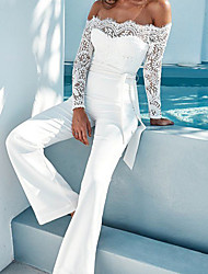 cheap -Women's White Jumpsuit Solid Colored Backless Lace Lace Trims