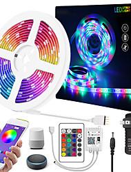 cheap -5m Flexible LED Strip Lights RGB Tiktok Lights Remote Controls 150 LEDs 5050 SMD 1 24Keys Remote Controller 1 x 12V 2A Adapter 1 set Multi Color APP Control Creative Party 85-265 V