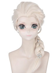 cheap -Cosplay Costume Wig Cosplay Wig Elsa Frozen II Plaited With Ponytail Wig Blonde Long Light golden Synthetic Hair 30 inch Women's Anime Cosplay Party Blonde