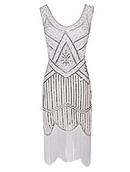 cheap -1920s gatsby fringed paisley plus size flapper dress with 20s accessories set & #40;xl, white& #41;