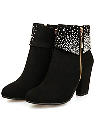 cheap -Women's Boots Block Heel Boots Wedge Heel Round Toe Booties Ankle Boots Sexy Outdoor Walking Shoes Nubuck Rhinestone Solid Colored Black Red Blue / Booties / Ankle Boots / Booties / Ankle Boots