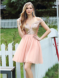 cheap -Women's A-Line Dress Short Mini Dress - Sleeveless Solid Color Sequins Patchwork Spring Fall Off Shoulder Casual Going out Loose 2020 Blushing Pink S M L XL