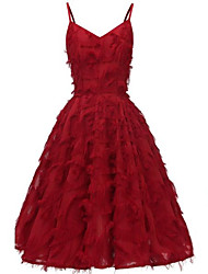 cheap -Women's Strap Dress Knee Length Dress - Sleeveless Solid Color Tassel Fringe Patchwork Summer Sexy Slim 2020 White Blushing Pink Wine S M L XL XXL
