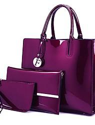 cheap -Women's Bags PU Leather Bag Set 3 Pcs Purse Set Zipper Daily Holiday Bag Sets 2021 Handbags Wine Black Blue