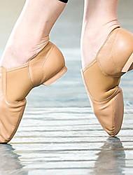 cheap -Women's Latin Shoes Jazz Shoes Modern Shoes Practice Trainning Dance Shoes Basic Flat Heel Black Brown Elastic Slip-on