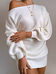 cheap -Women's Sweater Jumper Dress Short Mini Dress - Long Sleeve Backless Spring Fall Off Shoulder Casual Hot Going out Cotton Loose 2020 White Black Blushing Pink Wine Khaki S M L XL
