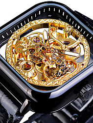 cheap -FORSINING Men's Mechanical Watch Analog Automatic self-winding Vintage Style Casual Tourbillon Hollow Engraving / Two Years / Leather