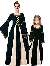 cheap -Witch Cosplay Costume Outfits Group Costume Kid's Adults' Women's Cosplay Vacation Dress Halloween Halloween Festival / Holiday Polyester Dark Green Women's Easy Carnival Costumes / Headwear