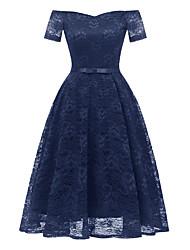 cheap -Women's A Line Dress Short Mini Dress Navy Blue Short Sleeve Solid Color Lace Bow Summer Off Shoulder Hot Sexy 2021 S M L XL XXL