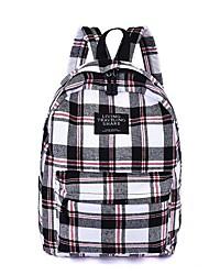 cheap -School Bag / Commuter Backpack Women's Polyester Zipper Grid Pattern School White / Red