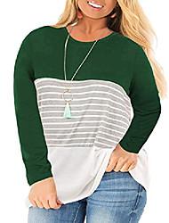 cheap -women& #39;s plus size loose tunic shirts long sleeve color block shirts tops green 26w