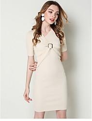 cheap -Women's Sheath Dress Knee Length Dress - Short Sleeve Solid Color Ruched Summer V Neck Casual Slim 2020 Black Beige One-Size