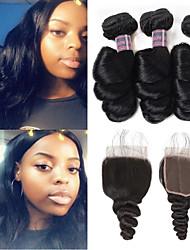 cheap -4 Bundles Hair Weaves Brazilian Hair Loose Wave Human Hair Extensions Human Hair Hair Weft with Closure 8-28 inch Natural Women Natural Youth