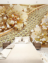 cheap -Custom Self Adhesive Mural Wallpaper Gold Flower Art Suitable For Bedroom Living Room Coffee Shop Restaurant Hotel Wall Decoration Art  Landscape Home Decoration Modern
